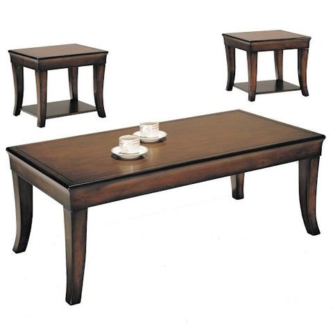 Acme Furniture Branford 3 Piece Pack Cherry Wood Coffee and End Table Set