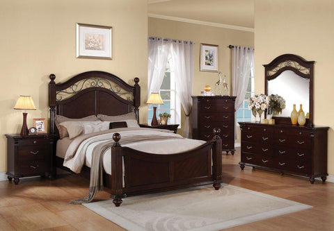 Acme Furniture Cleveland Panel Bed with Round Finials