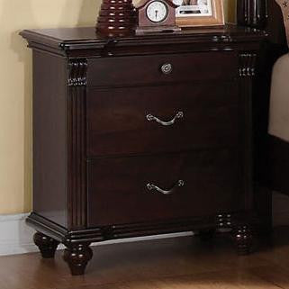 Acme Furniture Cleveland 3 Drawer Nightstand with Turned Feet