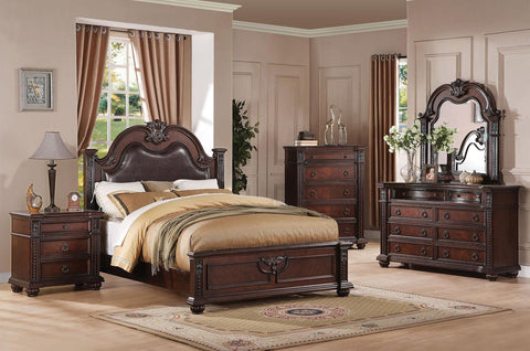 Acme Furniture Daruka Queen Size Bed with Upholstered Headboard and Traditional Wood Carving Details