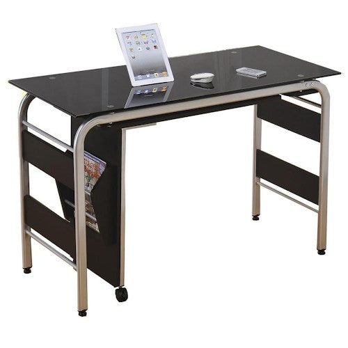 Acme Furniture Garion Computer Desk with Black Tempered Glass and Magazine Rack