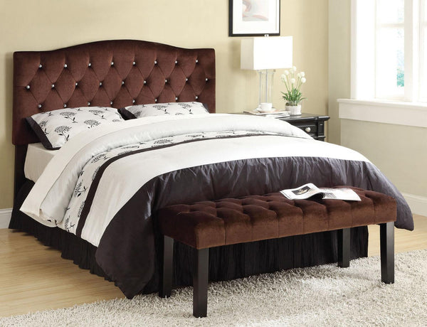 Acme Furniture Ion Brown Suede Queen/Full Headboard with Button Tufting