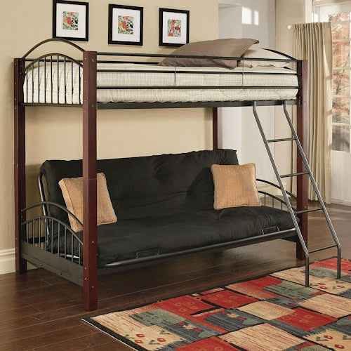 acme furniture jenell twin over futon bunkbed w wood posts  u2013 price match furniture acme furniture jenell twin over futon bunkbed w wood posts  u2013 price      rh   pricematchfurniture