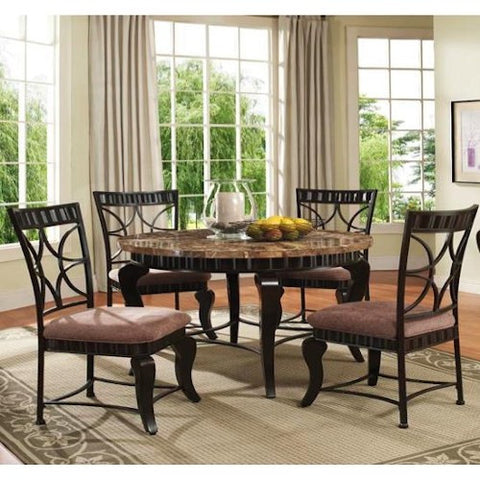 Acme Furniture Katya 5 Piece Dining Set with Marble Top Table
