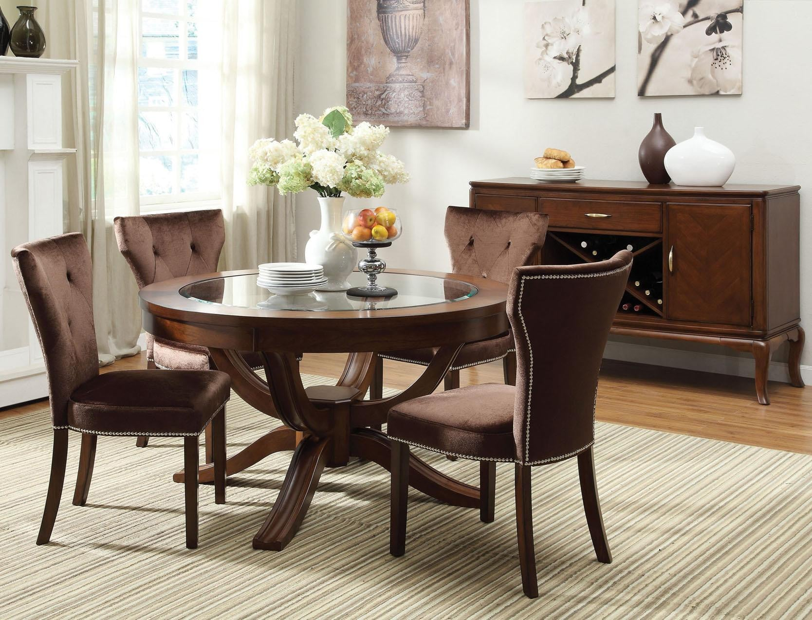 Acme Furniture Kingston Formal Dining Room Group W Round Table
