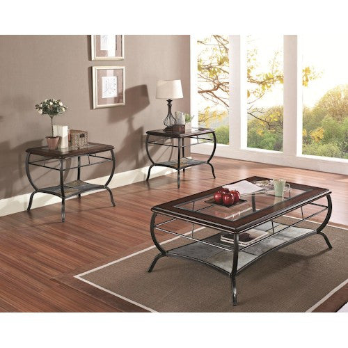 Acme Furniture Nansen 3-Piece Occasional Table Set W/Glass and Slate