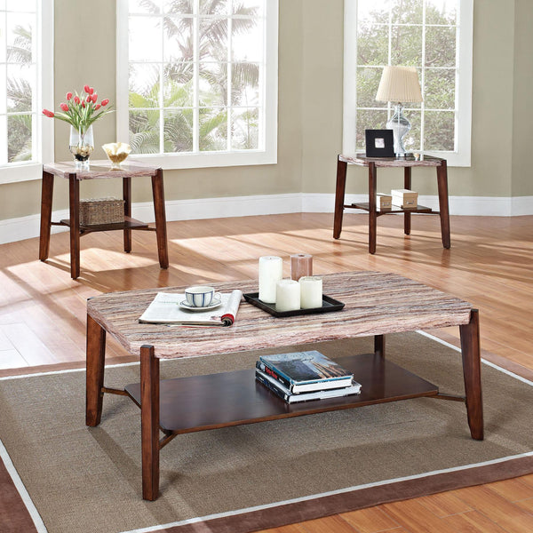 Acme Furniture Nadav Square Faux Marble 3-Piece Coffee/End Table