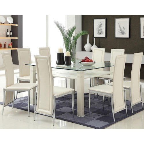 Acme Riggan White Leg Table with White Vinyl Chairs Set  sc 1 st  Price Match Furniture & Acme Riggan White Leg Table with White Vinyl Chairs Set u2013 Price ...