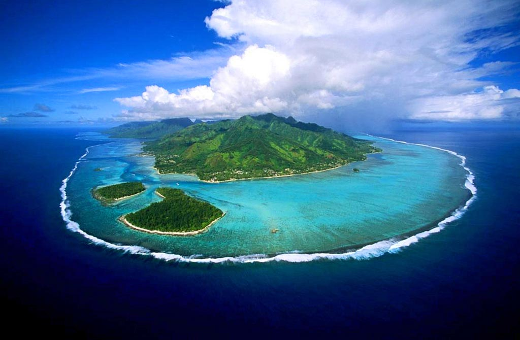 Beautiful arial shot of Bora Bora Island