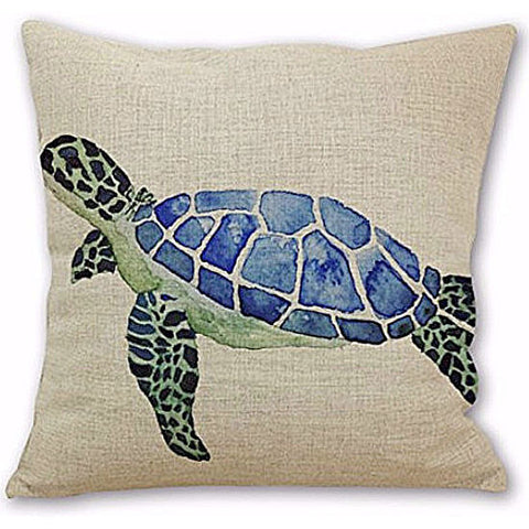 Blue and Green Sea Turtle Natural Linen Throw Pillow