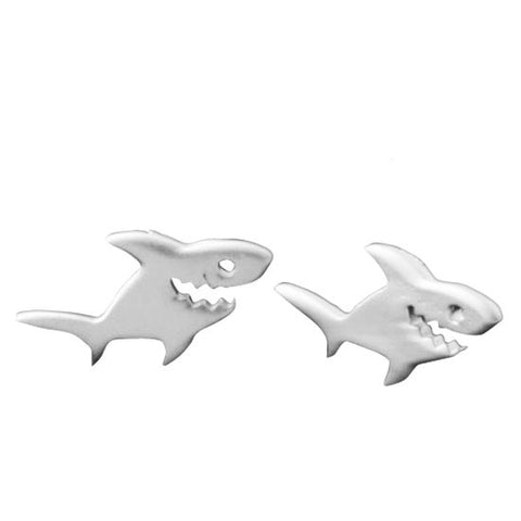 Shark Stud Earrings Silver Gold