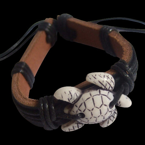 White Sea Turtle Black Leather Bracelet