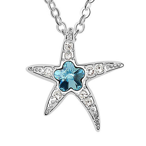 Rhodium and Crystal Starfish Pendant