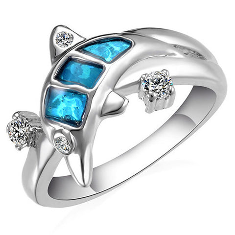 Blue Dolphin Silver and Crystal Ring