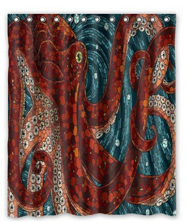 Red Mosaic Octopus Shower Curtain