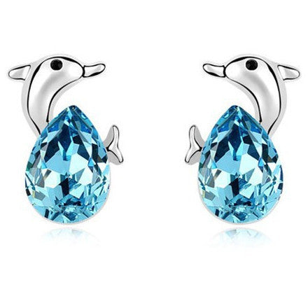 Dolphin Rhodium and Crystal Earrings