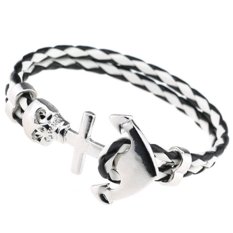 Anchor Skull Leather Bracelet 16 Colors