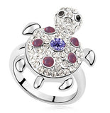 Pink Sea Turtle Silver and Crystal Ring