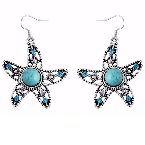 Crystal Turquoise Starfish Earrings