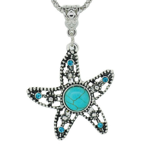 Turquoise Starfish Silver Pendant Necklace