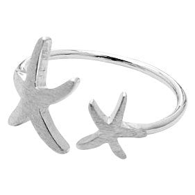 Double Starfish Adjustable Silver / Gold Ring