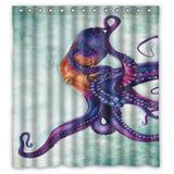 Purple Octopus Polyester Shower Curtain