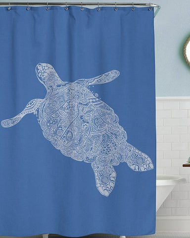 Sea Turtle Blue Shower Curtain