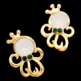 Gold Octopus Crown Earrings