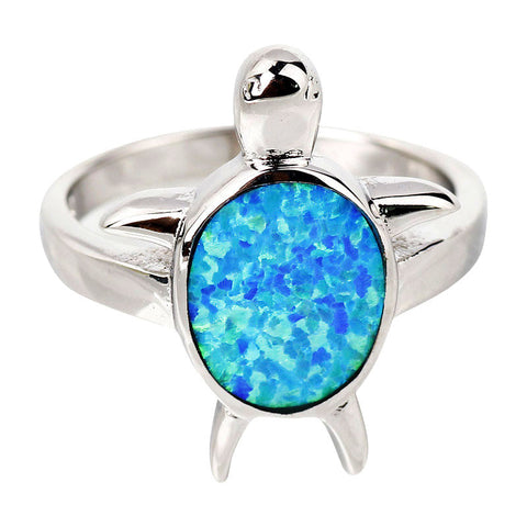 Blue Sea Turtle 925 Sterling Silver Opal Stone Ring