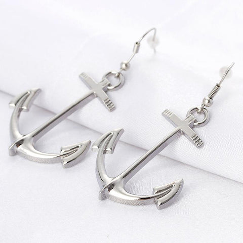 Anchor Silver Dangle Earrings