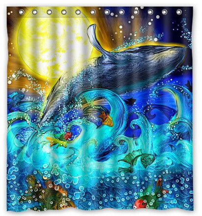 Artistic Sun Whale Shower Curtain