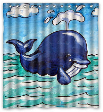 Cute Whale Cartoon Shower Curtain