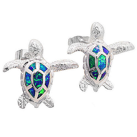 Blue Green Sea Turtle Sterling Silver and Opal Stone Earrings