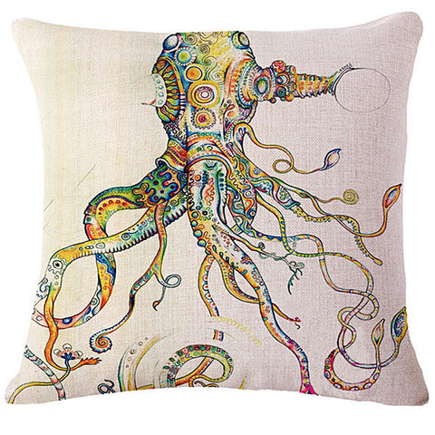 Artistic Octopus Linen Pillow