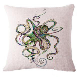 Colorful Octopus Linen Pillow