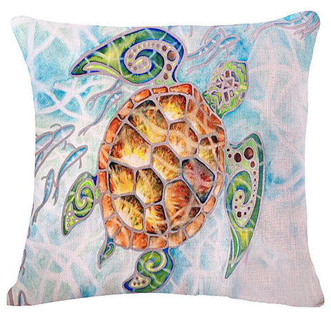 Artistic Sea Turtle Linen Pillow