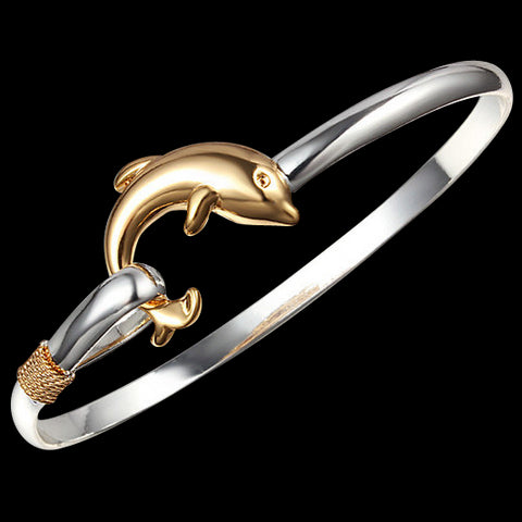 Two Tone Silver and Gold Dolphin Bracelet