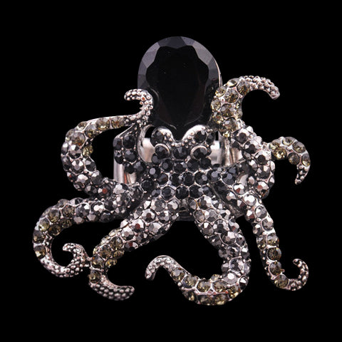 Octopus Black Crystal Ring