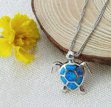 Blue Sea Turtle Rhodium and Opal Stone Pendant w/ Necklace