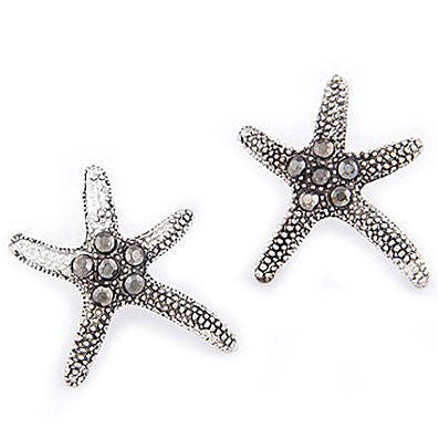 Textured Starfish Earrings w/ Crystals