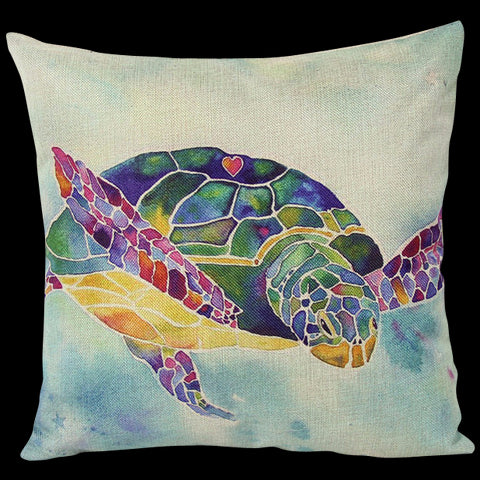 Colorful Sea Turtle Decorative Pillow
