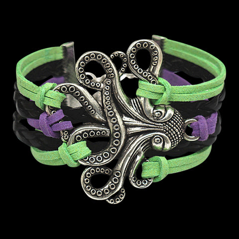 Octopus Green Purple Leather Bracelet