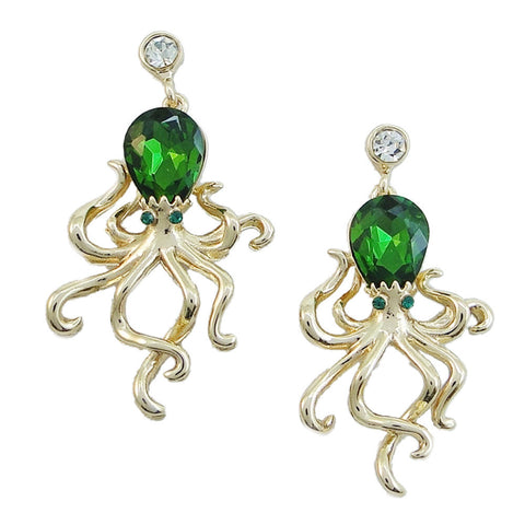 Octopus Gold Crystal Earrings