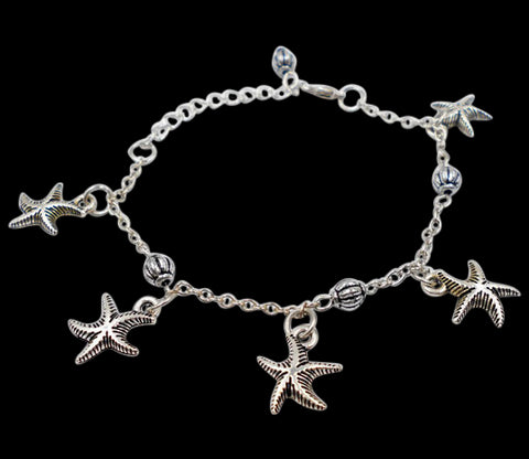 Five Starfish Charm Bracelet