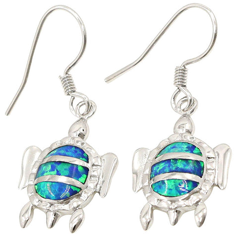 Blue Sea Turtle 925 Sterling Silver and Opal Earring