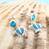 Blue Sea Turtle Silver and Opal Stud Earrings
