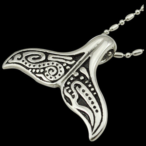 Tribal Whale Tale Pendant Necklace