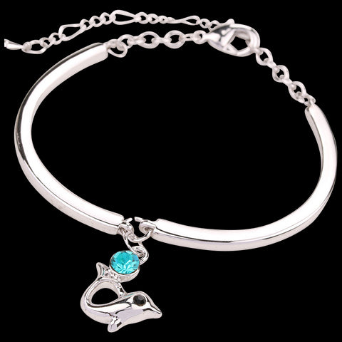 Dolphin Crystal and Silver Bracelet