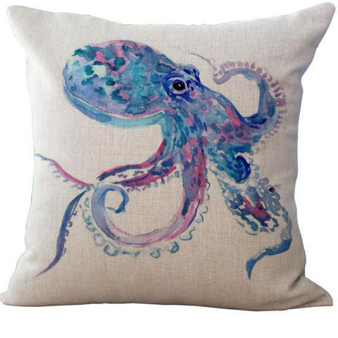 Blue and Pink Octopus Linen Pillow