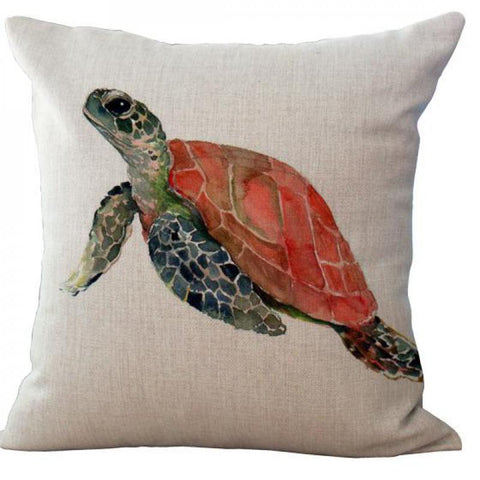 Natural Sea Turtle Linen Pillow